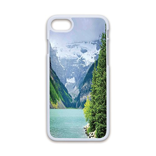 Phone Case Compatible with iPhone7 iPhone8 White Soft Edges 2D Print,Lake House Decor,Landscape of Lake Louise and Mountains with Snows Alpine Trees in Alberta Canada,Green White,Hard Plastic Pho