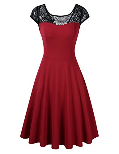 Scoop Dress Party Burgundy GlorySunshine Women Floral Neck Lace Sleeveless Line Cocktail Pleated A 1xZawRZt