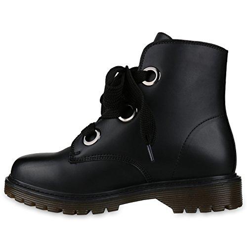 Stiefelparadies Damen Stiefeletten Leicht Gefütterte Outdoor Worker Boots Flandell Schwarz Ösen