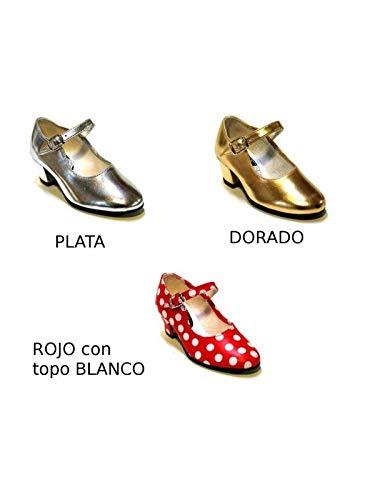 DISBACANAL Zapato andaluza Plata Oro Rojo Topo Blanco - Oro, 36