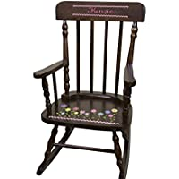 Personalized Espresso Flowers Rocking Chair
