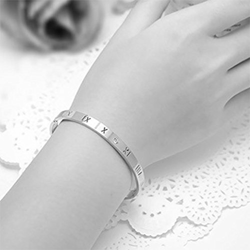 Menoa Bangle Bracelet Buckle Roman Numerals Exquisite Plated Stainless Steel Lover Mom Gift