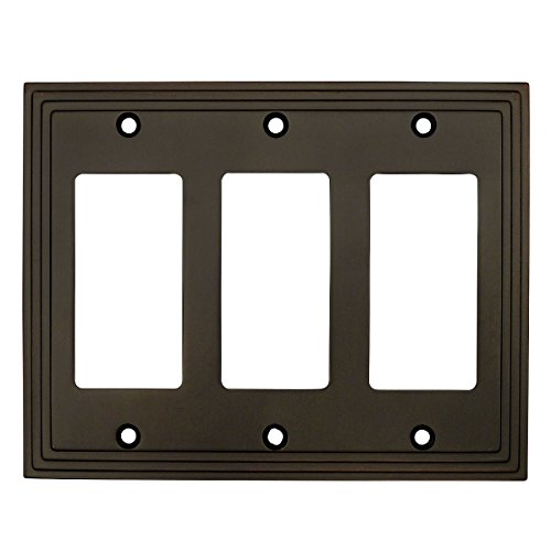 (Cosmas 25084-ORB Oil Rubbed Bronze Triple GFI/Decora Rocker Wall Switch Plate Switchplate Cover)