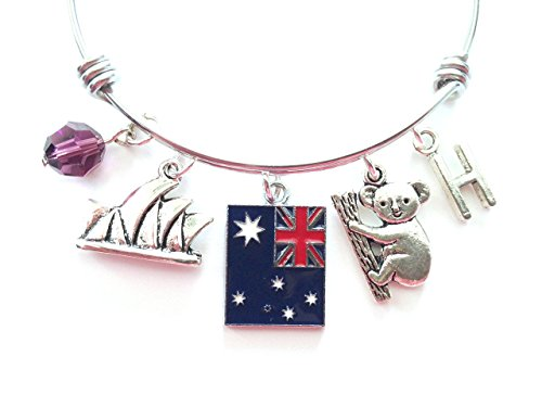 australia-australian-sydney-themed-personalized-bangle-bracelet-antique-silver-charms-and-a-genuine-