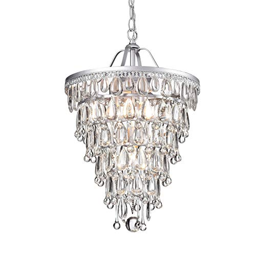 - Cone Shape 4-Light Matte Silver Crystal Chandelier