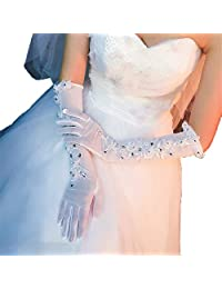 Full Finger Long Gloves Mesh Breathable Flower Crystal Girl Gloves for Wedding