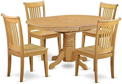 AVPO5-OAK-W 5 Pc Dining set with a Kitchen Table and 4 Wood Seat Kitchen Chairs in Oak