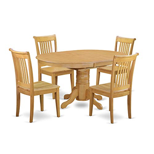 AVPO5-OAK-W 5 Pc Dining'set with a Kitchen Table and 4 Wood Seat Kitchen Chairs in Oak