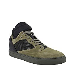 Balenciaga High Top Black Olive Green Suede Leather Sneakers 412349 3241 It 42 Us 9