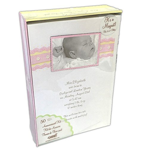 Gartner Studios Birth Announcement Kit Baby Girl with Keepsake Magnet 50 Count