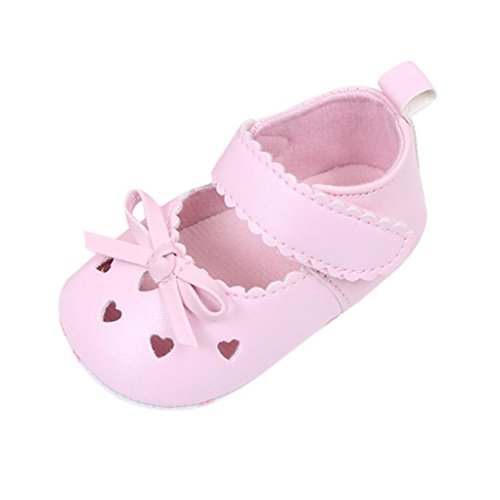 Kimloog Newborn Infant Baby Girls Hollow Bowknot Mary Jane Crib Shoes Soft Sole Leather Sneakers (Pink, 2 M US Toddler)