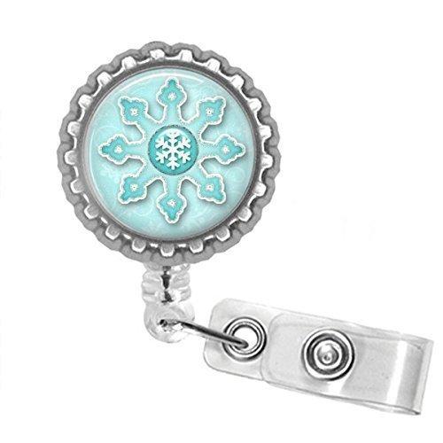 Snowflake Bottle Cap Retractable Badge ID Holder ()