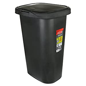 Rubbermaid FG233900WHT Spring Top Wastebasket, 53-Quart, 13 1/4 Gallon, Black