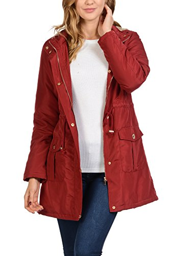 Auliné Collection Women's Satin Faux Fur Lined Hoodie Long Coat Anorak Jacket Red Medium ()