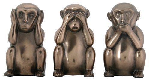 Hear No Evil Monkeys - 3 Inch Hear, See, and Speak No Evil Monkeys Statues, Pack of Three