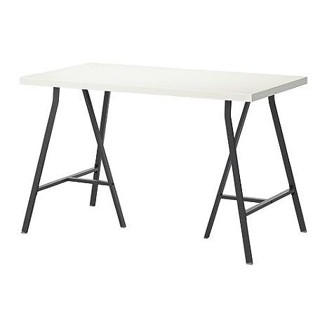 IKEA LINNMON / LERBERG - Mesa, blanco, gris - 120x60 cm: Amazon.es ...