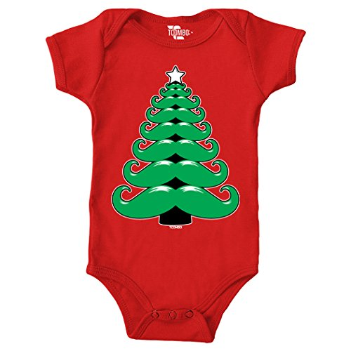 Mustache Christmas Tree Birthday Bodysuit (6M, RED) - Tuxido Suit