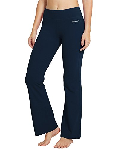 Baleaf Women's Yoga Bootleg Pants Inner Pocket Dark Blue Size L