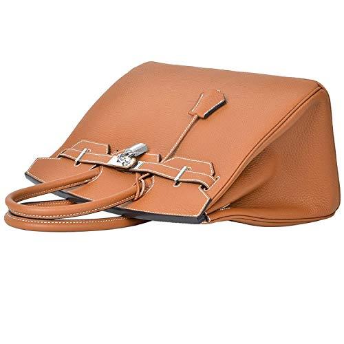 Vera Borse ® Argento Brown Con With Getthatbag Lucchetto Stitches White Pelle Tan In Hardware Erin X4xqwTp