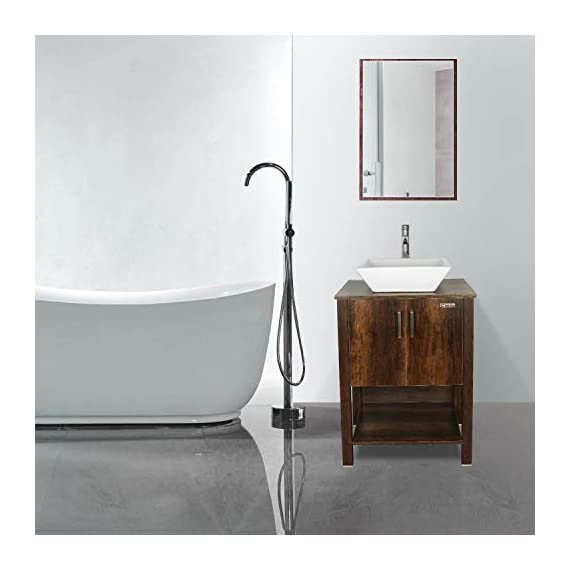 "eclife 24"" Bathroom Vanity Sink Combo Brown Cabinet Modern Stand Pedestal W/Square White Ceramic Vessel Sink, Chrome Bathroom Solid Brass Faucet and Pop Up Drain Combo, W/Mirror (A07 B12C) - ❤WATER SAVE: 1.5 GPM faucet aerator help to save 30% water; 3/8'' Connector Hot/Cold Water supply hose; 23-5/8"" Long water supply lines; Durable Chrome faucet; Pop up drain. ❤ECO-FRIENDLY: MDF eco-friendly material used to make vanity more durable and sturdy; 15mm Thickness and smooth surface board, easy to clean and wear-resistance. ❤EASY to INSTALL: Need to be self-assemble, delicate design make it easy to assemble; Small body includes maximized storage, more convenient and flexible for you to use. - bathroom-vanities, bathroom-fixtures-hardware, bathroom - 419mIWhecwL. SS570  -"