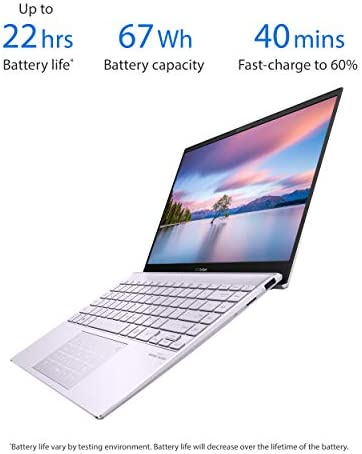 "ASUS ZenBook 13 Ultra-Slim Laptop 13.3"" Full HD NanoEdge Bezel Display, Intel Core i5-1035G1 Processor, 8GB RAM, 256GB PCIe SSD, NumberPad, Windows 10 Home, Lilac Mist, UX325JA-AB51"