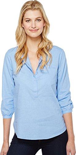 NYDJ Women's Linen Pleat Back Blouse, Matisse Blue, Large (Blue Linen Blouse)