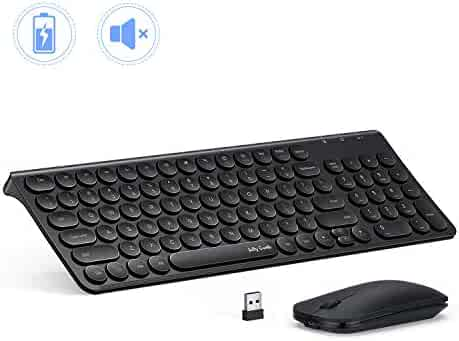 Rechargeable Wireless Keyboard and Mouse, Jelly Comb 2.4GHz Ultra Slim Quiet Keyboard and Mouse Combo with Round Keys for Windows, Laptop, Notebook, PC, Computer