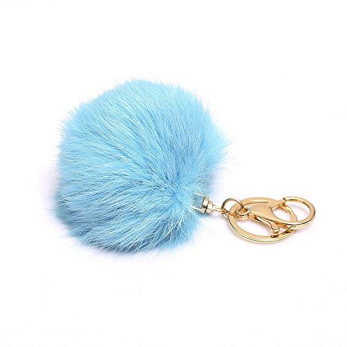 MISASHA Real Fox Fur Fluffy Turquoise Blue Ball PomPom Key Chain Ring Car Pendant Bag - Earrings Turquoise Fox