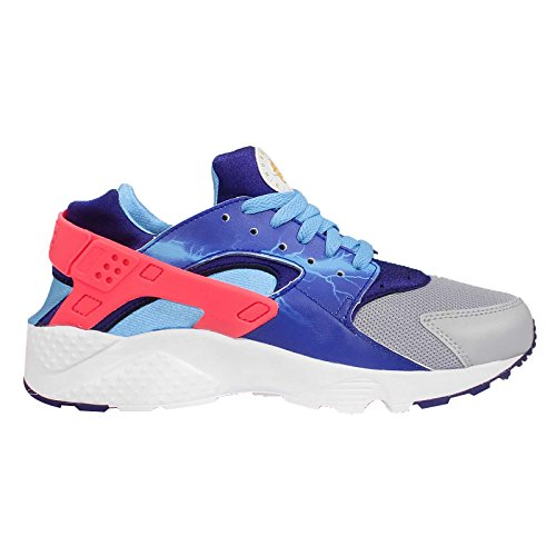 Nike Huarache Run Print (Gs), Zapatillas de Running para Niños Gris / Dorado / Azul (Wlf Gry / Unvrsty Gld-Dp Ryl Bl)