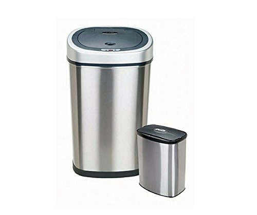 2-in-1 Combo Unit Bathroom/ Kitchen Trash Can Stainless Steel Construction Is Fingerprint Resistant And Easy To Clean