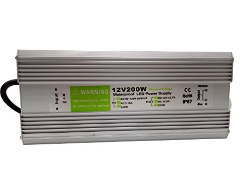 Pearlight LED Power Supply 200w DC 12v,Ac90-130V Driver Transformer Waterproof IP67 Suitable for LED Strip Light ,LED Module and Other Outdoor DC Led Lightings