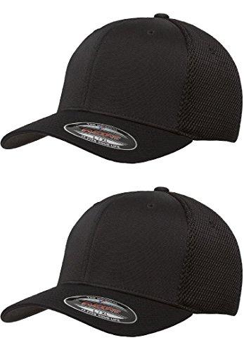 Flexfit 6533 Ultrafibre & Airmesh Fitted Cap, 2Pack (2-Black Caps) - Small/Medium