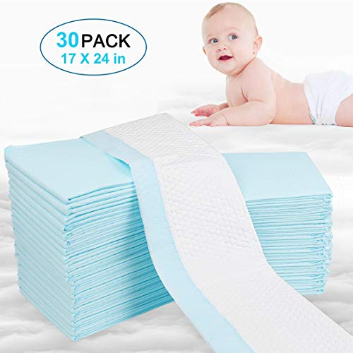 OBloved Baby Disposable Underpads Incontinence Pads Pet Training and Puppy Pads Portable Diaper Changing Table & Mat,Breathable Waterproof Absorbent Bed Protection 30 Pack,17.7X 23.6in