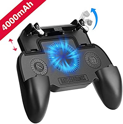 Mobile Game Controller with 4000mAh Power Bank and Cooling Fan, PUBG Mobile  Controller Gamepad L1 R1 Aim and Shoot Trigger, Joystick Remote Grip for