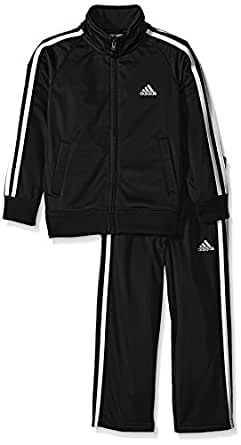 adidas Baby Boys' Iconic Tricot Jacket and Pant Set, Black/White, 3 Months