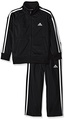 adidas Little Boys' Iconic Tricot Jacket and Pant Set, Black/White, (Kids Tricot Jacket)