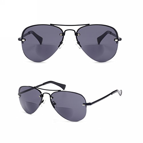 Enjoy Reading in the Sun n Look Fashion! Viscare Men Women Aviator Bifocal Lightweight Sun Reading Glasses Sunglasses Readers W/case N Cloth +1.50 Grey -- 30 Days Return - Progressive Oakley Lenses