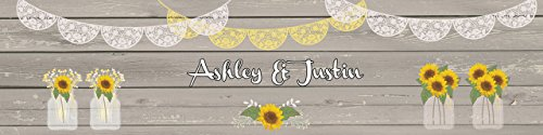 100 Sunflower Vases on Rustic Wood Wedding Anniversary Engagement Party Water Bottle labels Bridal Shower Birthday by DesignThatSign (Image #1)