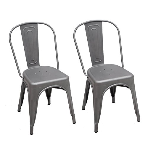 Adeco 2016 New Metal Stackable Industrial Chic Dining Bistro Cafe Side Chairs, Outdoor and Indoor, Grey Metal, Set of 2