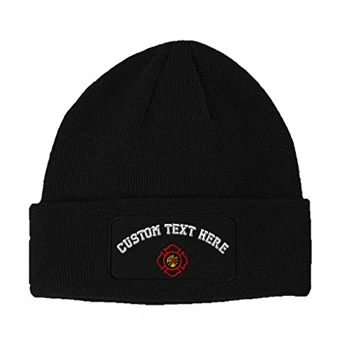 Custom Text Embroidered Maltese Cross Firefighter Unisex Adult Acrylic Double Layer Patch Beanie Skully Hat - Black, One Size -