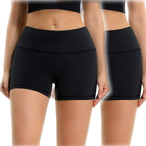 (Osne4u Women's Yoga Running Shorts Elastic Mid Waist Tummy Control Workout Shorts Pants with Zipper Pocket 2 Pack (Black, XS))