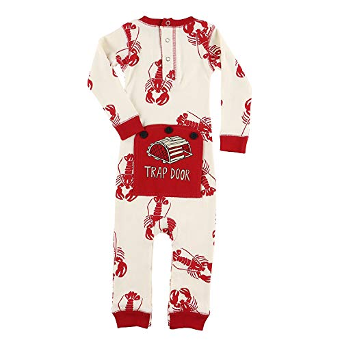 Lobster Trap Door Baby Flapjack Onsie Pajamas by LazyOne | Adult Kid Infant Dog Family Matching Pajamas (6 MO) -