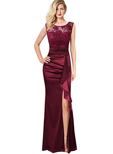 Dress Wedding Gown Embroidered (VFSHOW Womens Formal Ruched Ruffles Embroidered Evening Wedding Maxi Dress 666 RED XS)