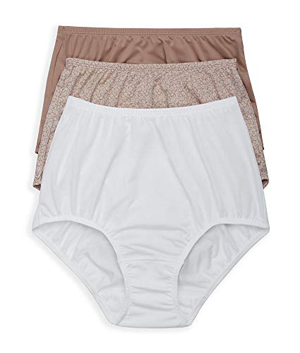 Olga Women's Without a Stitch 3 Pack Brief, Toasted Almond/White/Toasted Almond Botanical Ditsy, XXL