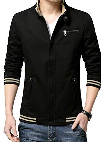 Fermeture Veste Leeharu Blazer Causal Éclair Noir Jacket Homme Coton UBqA1cqZp