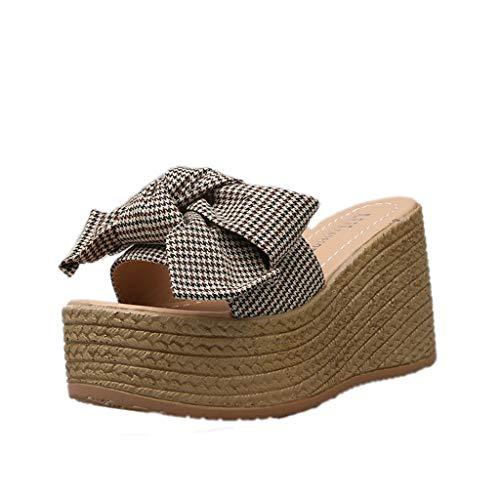 Snowlike Summer Women Ladies Bow Knot Plaid Peep Toe Platform Woven Wedges Sandal Shoes Slipper