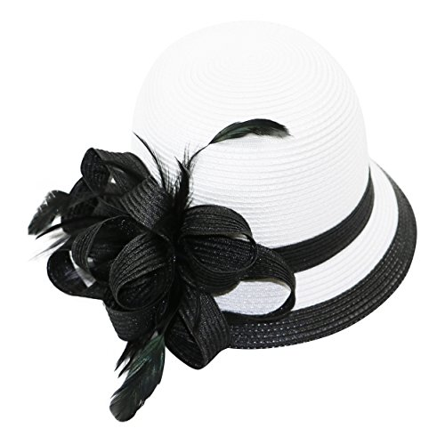 August Hat Hibiscus Bow & Feather Adjustable Striped Cloche Hat (White Black, One Size)