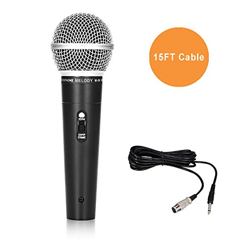 """Melody (TM) Professional Mic Metal Dynamic Cardioid Performance Microphone with 15 Feet XLR to ¼"""" 6.35mm cable DIGIPARTS 60-009"""