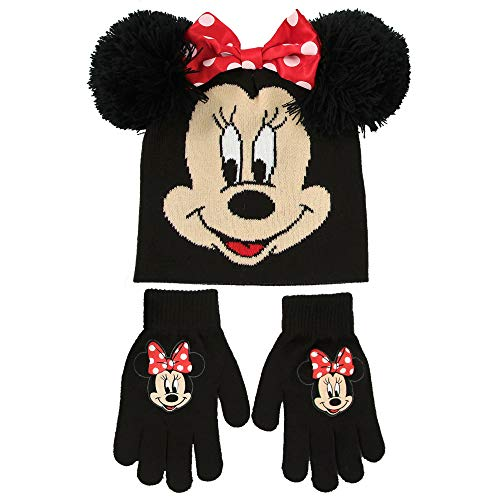 Disney Little Girls Minnie Mouse Hat and Gloves Cold Weather Set, Age 4-7 (Minnie Christmas Gifts Mouse)