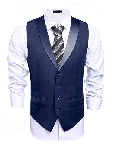 Coofandy Men's Suit Vest Slim Fit Casual Skinny Dress Waistcoat,Medium(US Medium),Navy Blue (Blue Coat Dress Men)